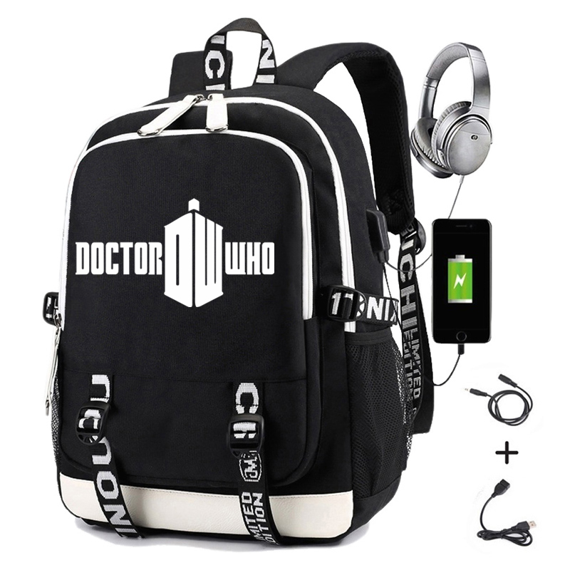 Doctor Who Backpack Men Printing Police Box Backapck School Usb Charging Oxford Women Laptop Travel Backpack Casual Daypacks
