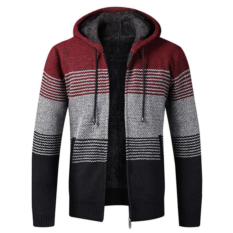 2021 New Autumn Winter Jacket Men Warm Cashmere Casual Wool Zipper Slim Fit Fleece Jacket Men Coat Dress Knitwear Male