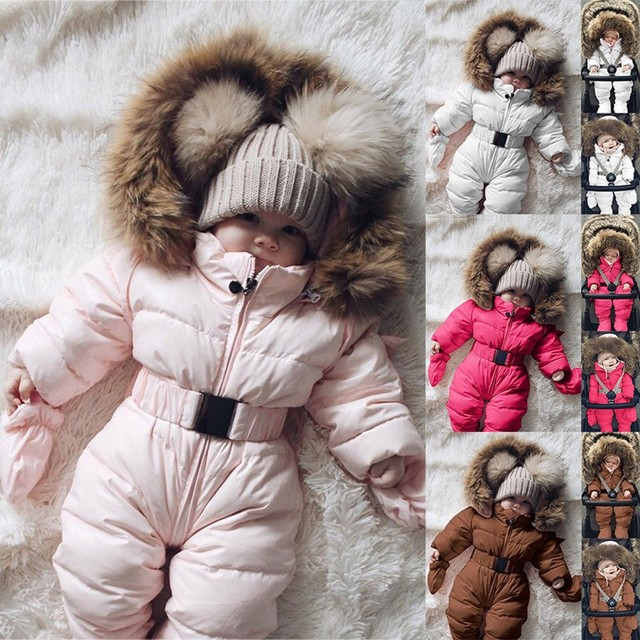 Winter Infant Baby Romper Boys Girls Jacket Hooded Jumpsuit Warm Thick Long Sleeve Zipper Coat Outfit Baby Boy Clothes Newborn 6