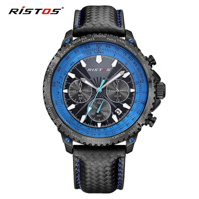 RISTOS Men Quartz Watch Function Sports Men's Army Wristwatch Reloj Hombre Male Fashion Leather Analog Watches relogio masculino | Fotoflaco.net