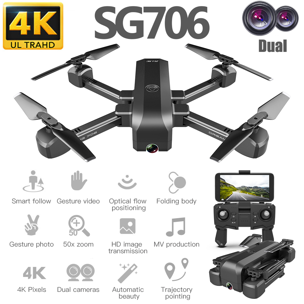 SG706 4K Drone Dual Camera Drone Profissional Quadcopter Stable Height RC Helicopter Drone Camera VS F11 KF607 XS816 GD89