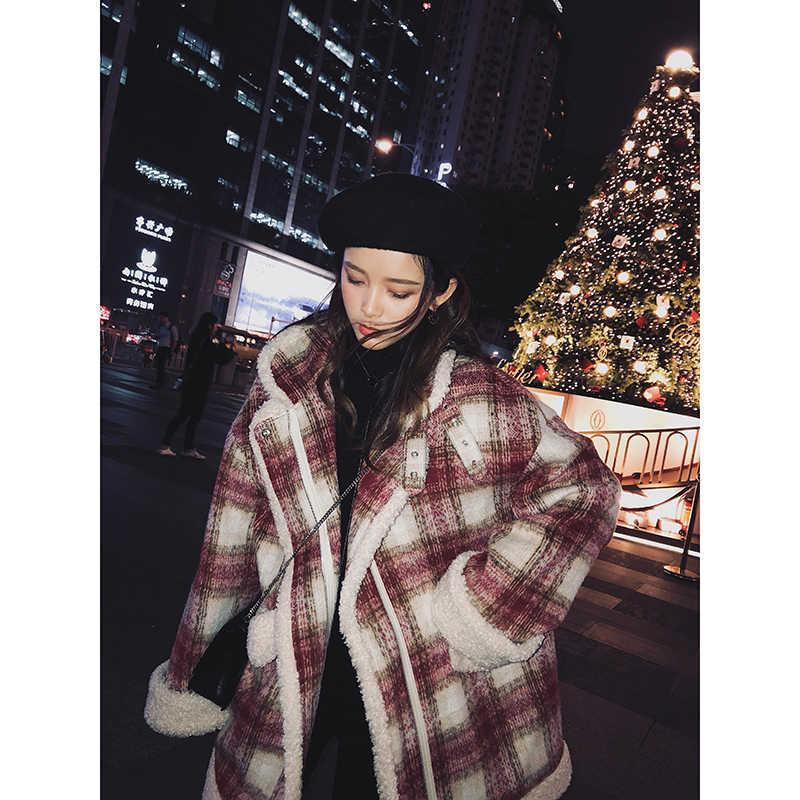 Mishow 2019 outono inverno vermelho xadrez casaco de lã nova moda causal feminino turndown colarinho grosso casaco mx18d6457