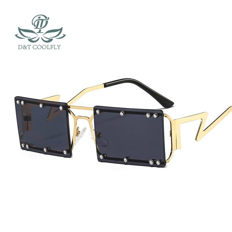 D & T Новые прямоугольные солнцезащитные очки для женщин и мужчин с заклепками Квадратная Металлическая оправа PC Красочные линзы Роскошный б...