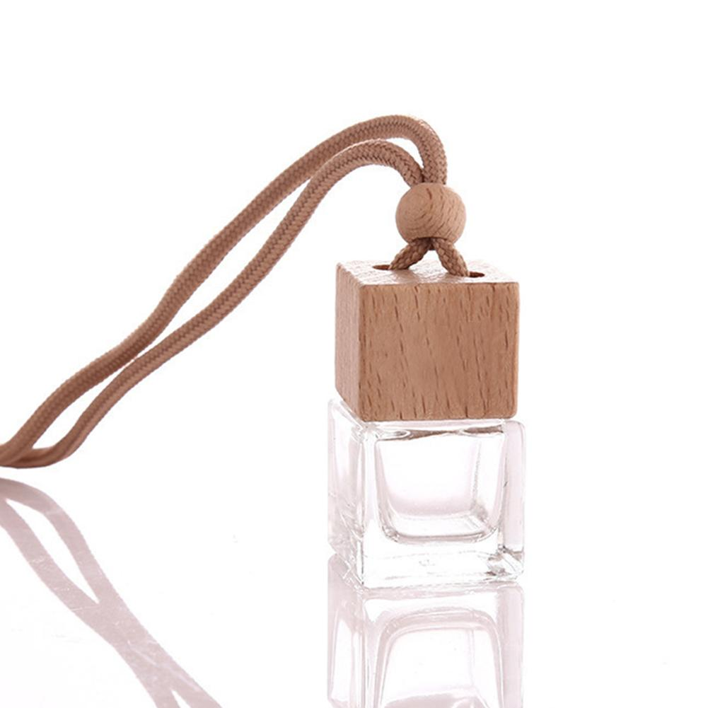 Cubic Wooden Cap Beads Perfume Essential Oil Car Perfume Bottle Refillable Bottle Empty Glass Bottle Air Freshener Hanging Decor