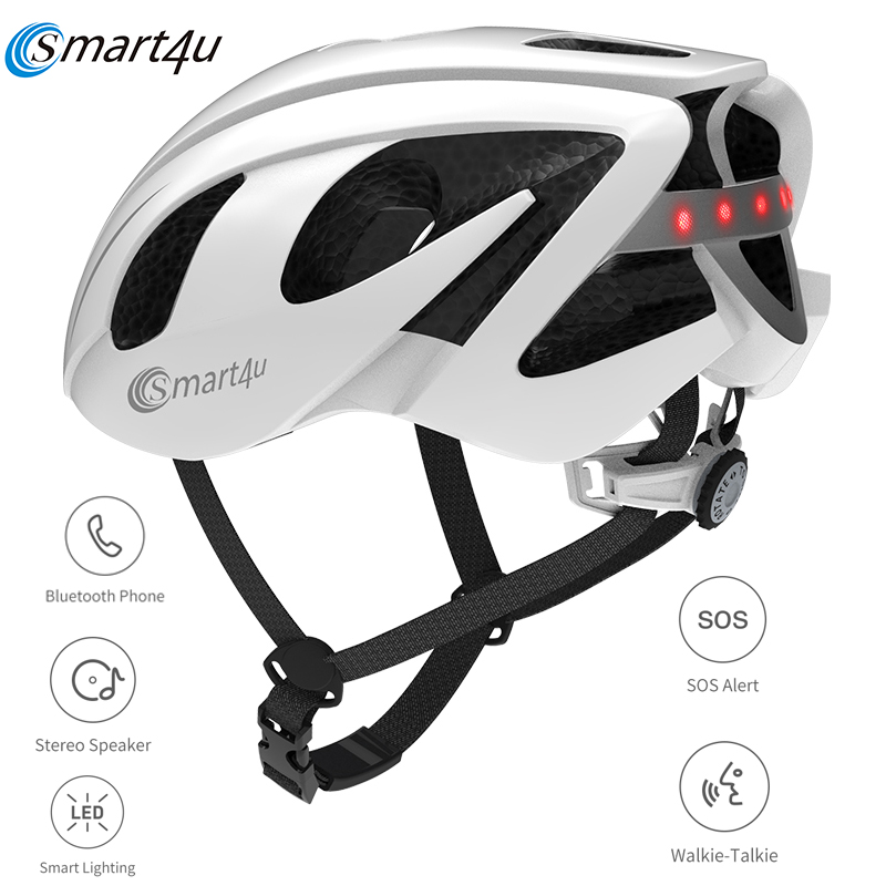 2020 Smart4u Outdoor SH55M 6 LED Warning Light Smart Cycling Bicycle Back Lamp Helmet Motorcycles Helmet SOS Alert Walkie Talkie title=
