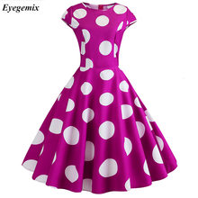 Pink Polka Dot Dress Wanita Musim Panas Pendek Lengan Hepburn Gaun Retro Jubah Vintage Gaun 50 S 60 S Rockabilly Pin up Plus Ukuran(China)