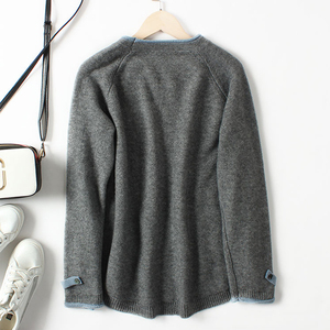 Image 5 - Hot Sale Fake Two Cashmere Sweater Womens Round Neck Pullover Autumn And Winter 2019 New Long Sleeve Korean Loose Wool Sweater