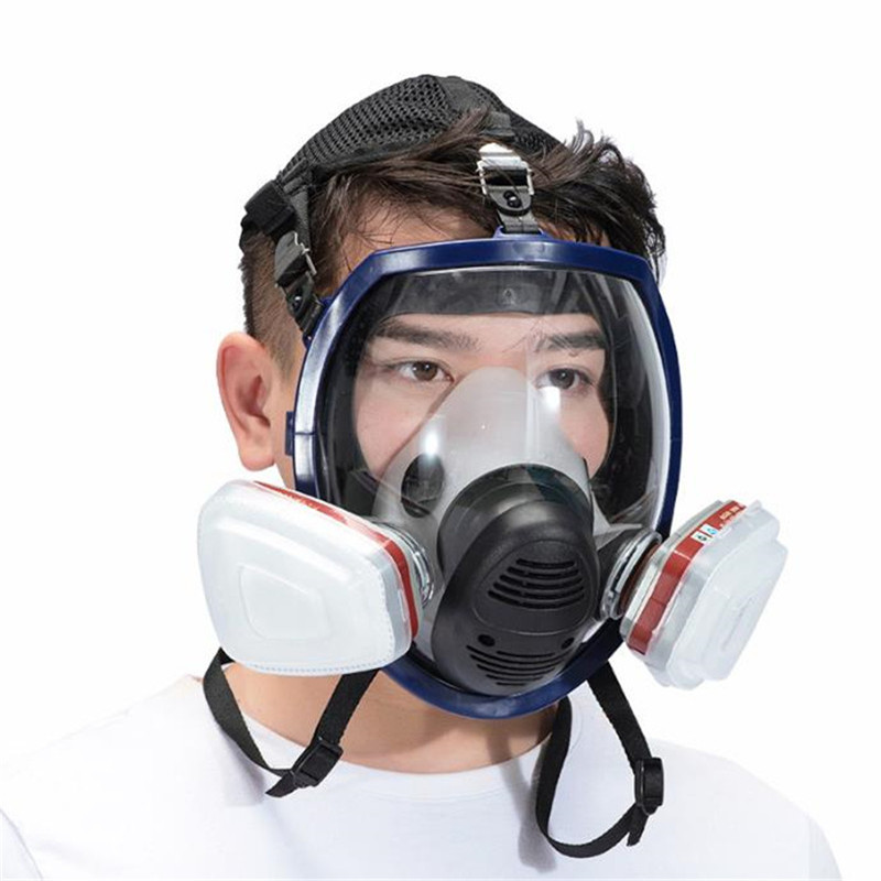 7 In 1 Full Face Gas Mask Silicone Filter Chemical Mask Dust Acid Toxic Air Chemicals Respirators Painting/Pesticide/Laboratory