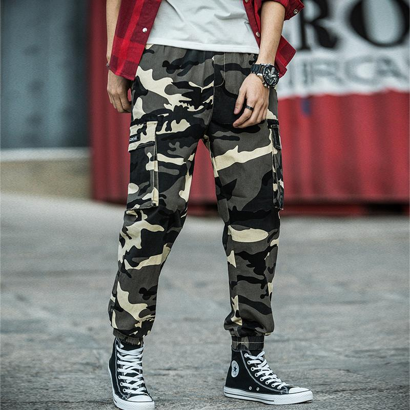New Style 2019 Autumn MEN'S Casual Pants Elasticity Camouflage Wash And Wear Treatment Cotton Trousers Bib Overall Urban Fashion