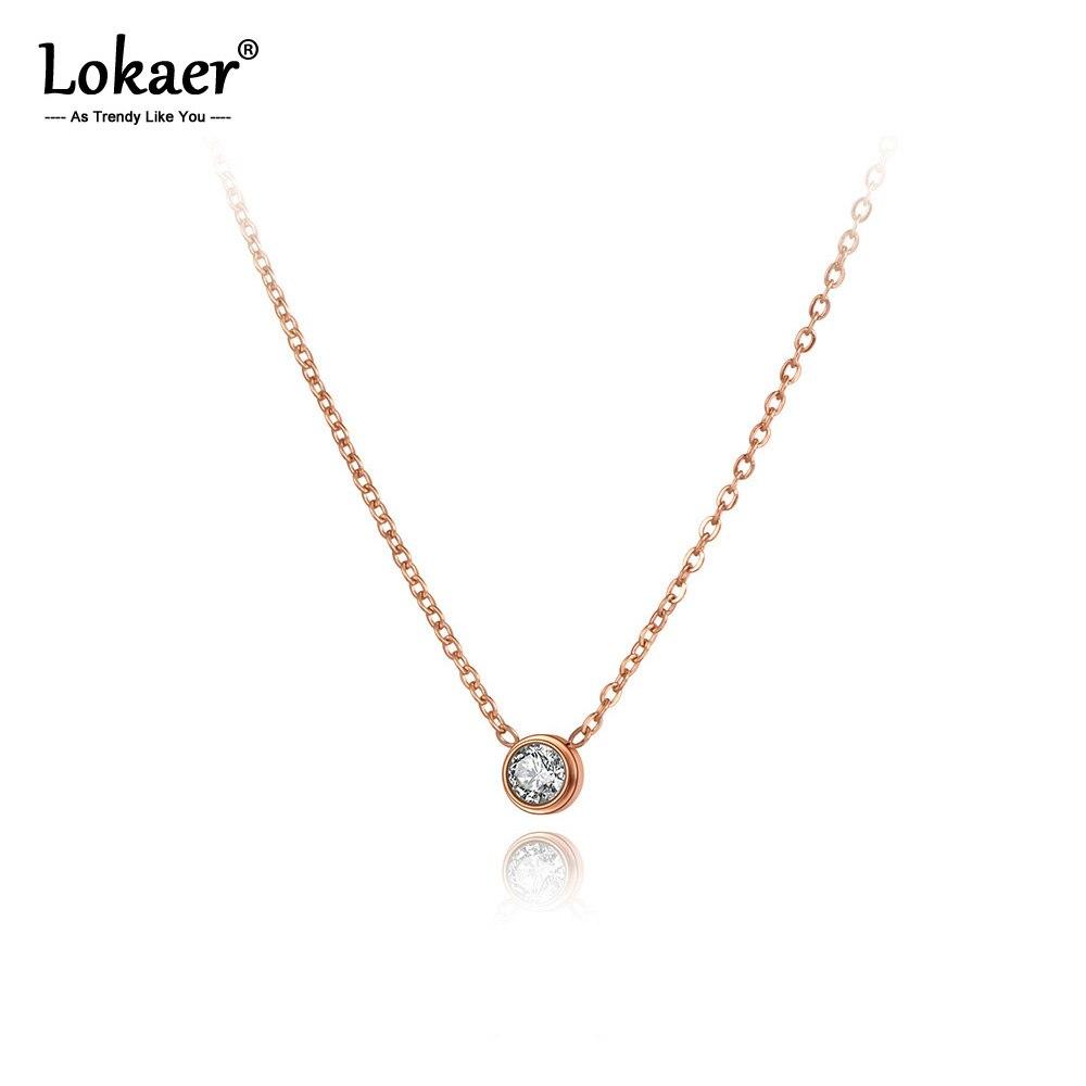 Lokaer Titan Edelstahl Runde CZ Kristall Charme Choker Halsketten Für Frauen Mädchen Trendy Strass Anhänger Halskette N20253