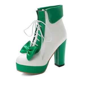 Image 5 - YMECHIC Moda 2019 Kış Lolita Ayakkabı Lace Up Yüksek Topuklu Platformlar Sevimli Yay Tatlı Pembe Mor Yeşil Sarı yarım çizmeler Kadın