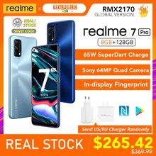 Realme 7 Pro küresel sürüm 8GB RAM 128GB ROM 65W SuperDart şarj 64MP Quad kamera AMOLED çin'de ekran parmak izi