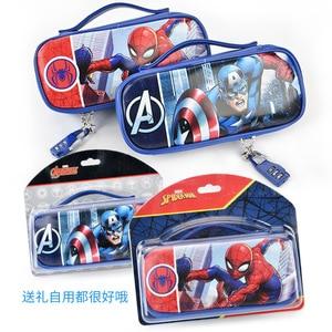 Image 3 - Marvel Captain America pencil case with password lock Spiderman Mickey school supplies large capacity multi function pencil bag