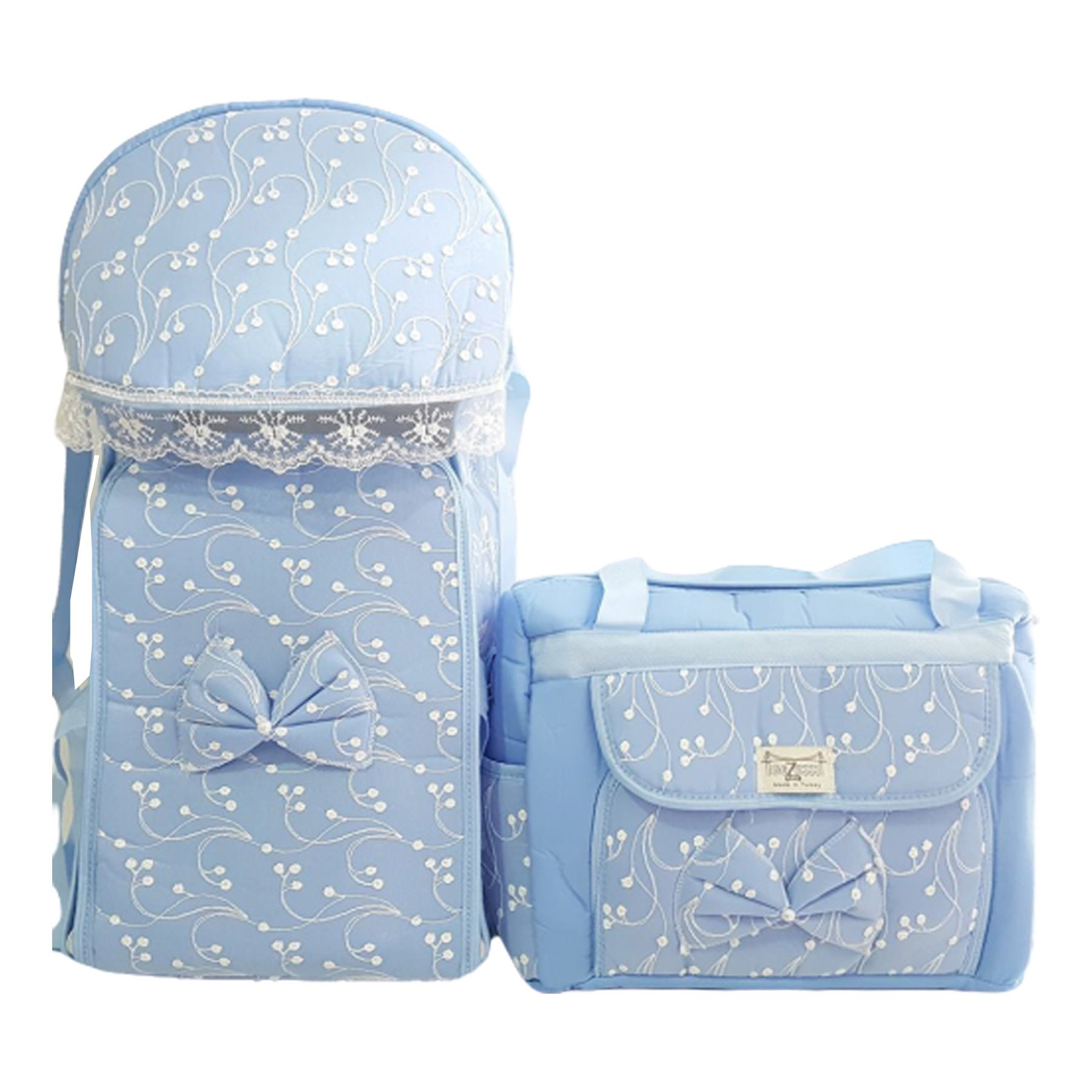 Baby Carrier Bag Lacy Blue Luxury 2 Pack Baby Boy Carrier Set - Baby Accessory- Baby Boy- Gift- Carrier Bag