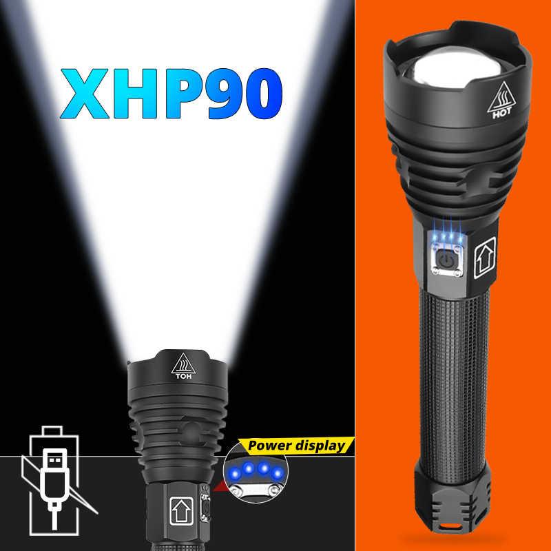 Super puissant Xlamp XHP70.2 XHP90 LED lampe torche à LED USB XHP50 lampe Zoom torche tactique 18650 26650 batterie Rechargeable