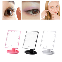 22 LED Light Makeup Mirror Touch Screen Table Desktop 180 Degree Rotation Adjustable Mirror Battery Use Beauty Make Up Mirror