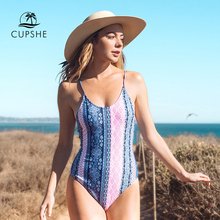 CUPSHE Stand By You Print One piece Swimsuit Women Back Lace Up Summer Sexy Monokini Ladies Beach Bathing Suit Swimwear