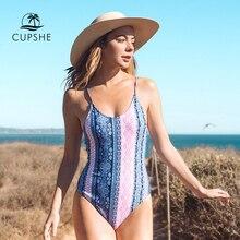 Cupshe あなたによってスタンドプリントワンピース水着女性バックレースアップ夏セクシーモノキニ女性ビーチ水着水着