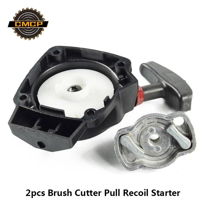 2pcs Brush Cutter Pull Recoil Starter Fit 1E34F Grass Cutter Hedge Trimmer Starter Lawn Mower Parts