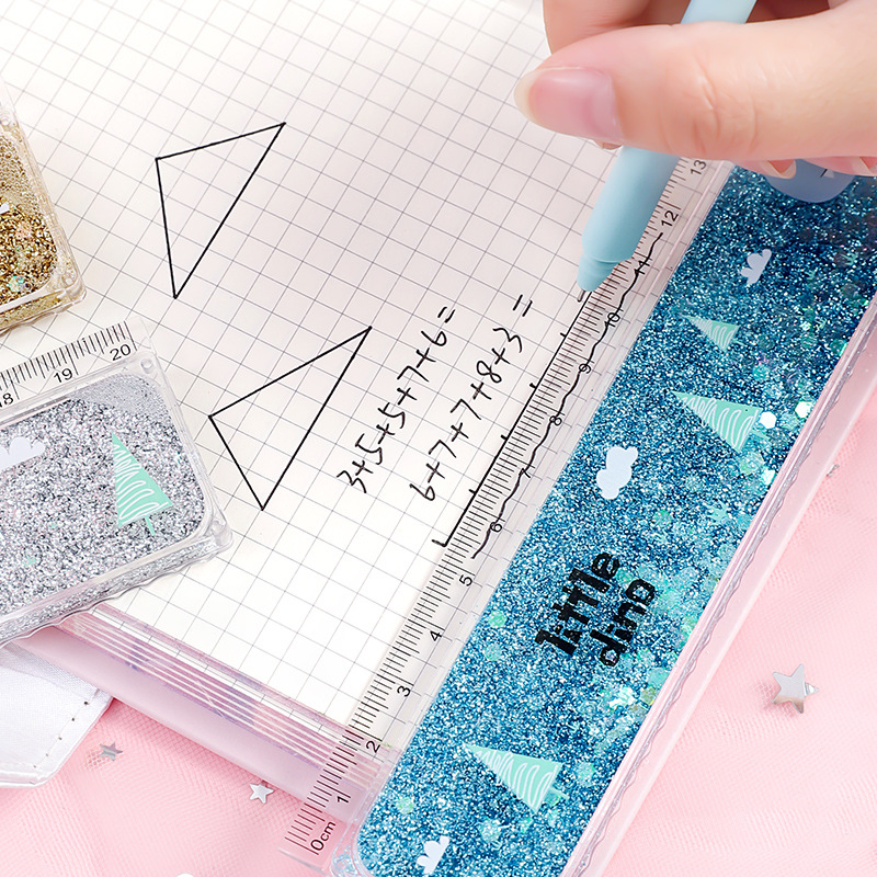 1 pc Creative Cute Ruler Sequin Quicksand 20cm Kawaii Student Rulers Stationery School Office Learning Accessories Gift for Kids 3
