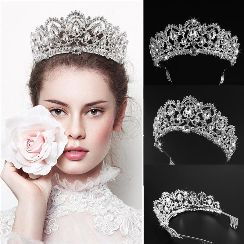 FRCOLOR Rhinestone Bridal Headpiece Crown Bling Crystal Queen Tiara With Side Comb Glittering Jewelry Decoration For Wedding