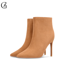 Купить с кэшбэком GOXEOU 2019 New Fashion Women Boot Short Boot Ankle Boots Autumn Thin High Heels Pointed Toe Party Office Handmade Free Shipping