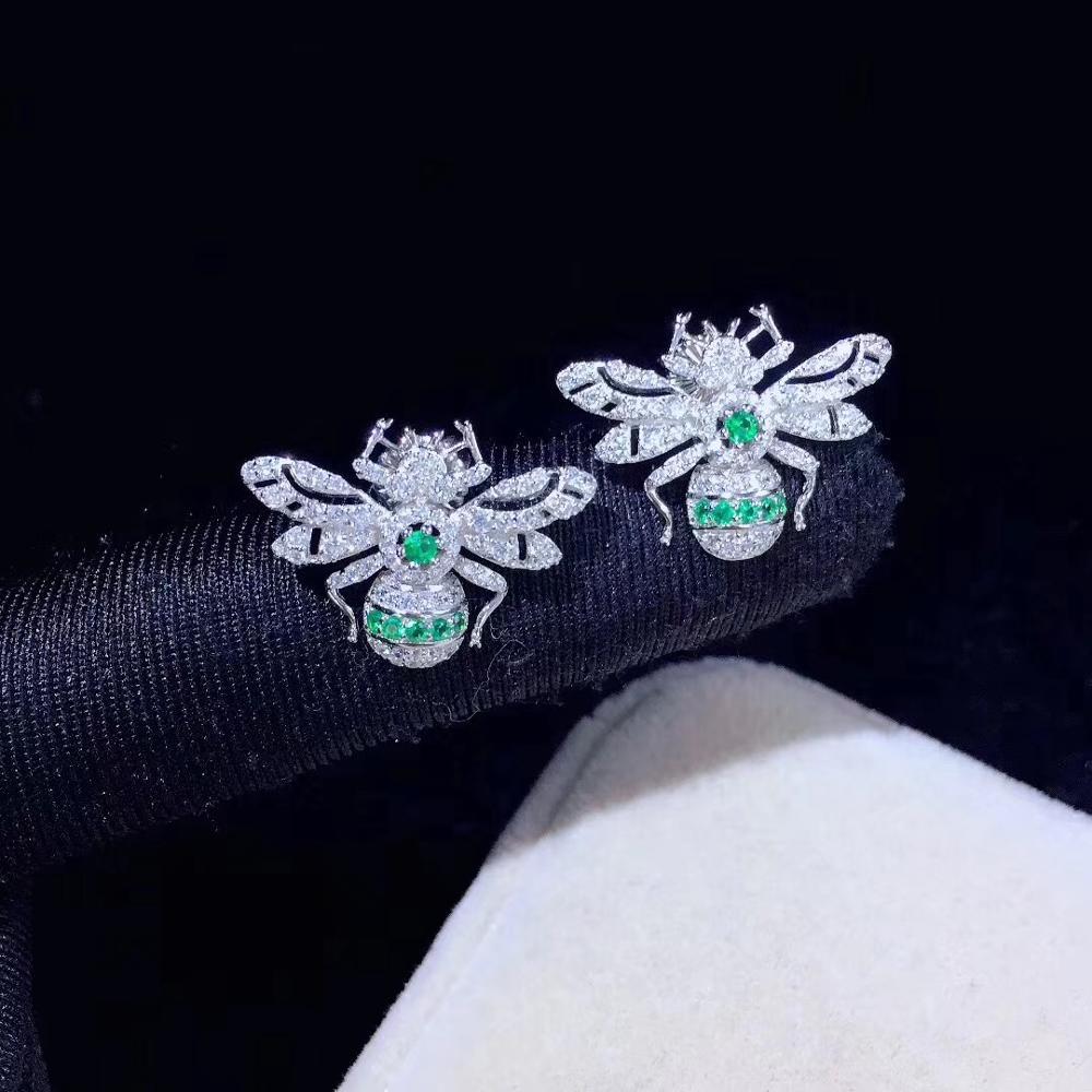Mignon vert couleur abeille boucle d'oreille en argent sterling 925 avec zircon cubique insecte mode femmes bijoux utilisation quotidienne livraison gratuite