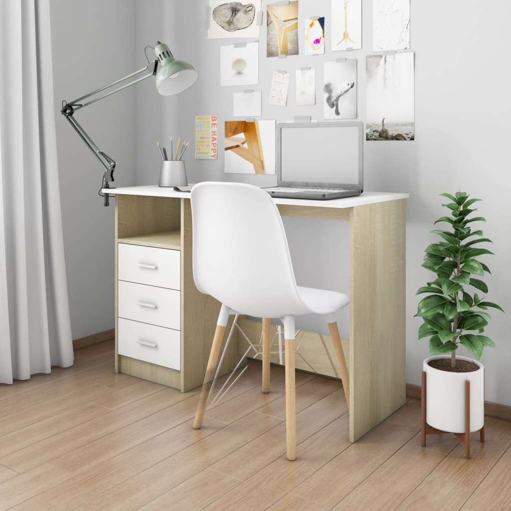 VidaXL Desk With Drawers White And Sonoma Oak 110x50x76 Cm Chipboard