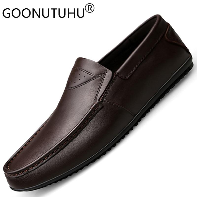 Ayakk.'ten Resmi Ayakkabılar'de 2019 erkek elbise ayakkabı hakiki deri inek slip on loafer'lar boyutu 36 44 ayakkabı adam resmi ofis ayakkabı erkekler için klasik siyah ve kahverengi'da  Grup 1
