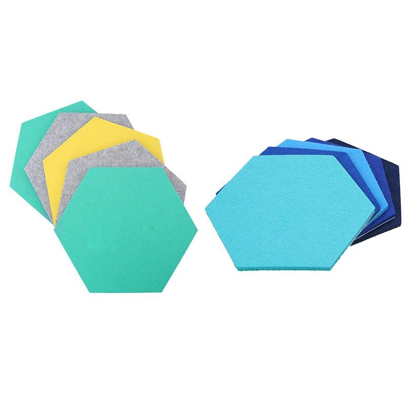 10 Pcs Hexagon Felt Board Hexagonal Felt Wall Sticker 3D Decorative Home Message Board Self-Adhesive Kids Room Baseboard, 5 Pcs