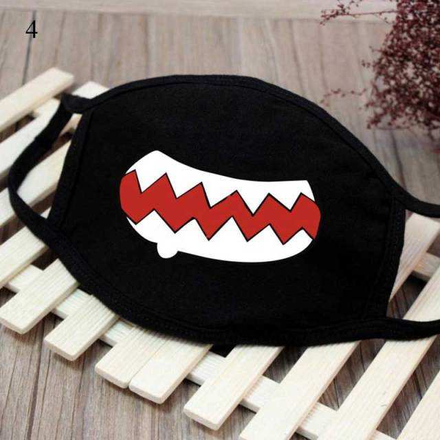 New Cartoon Black Kpop Anime Mouth Mask Cotton Lucky Bear Tooth Women Men Muffle Face Mouth Masks Windproof  Masks Resuable Mask 3