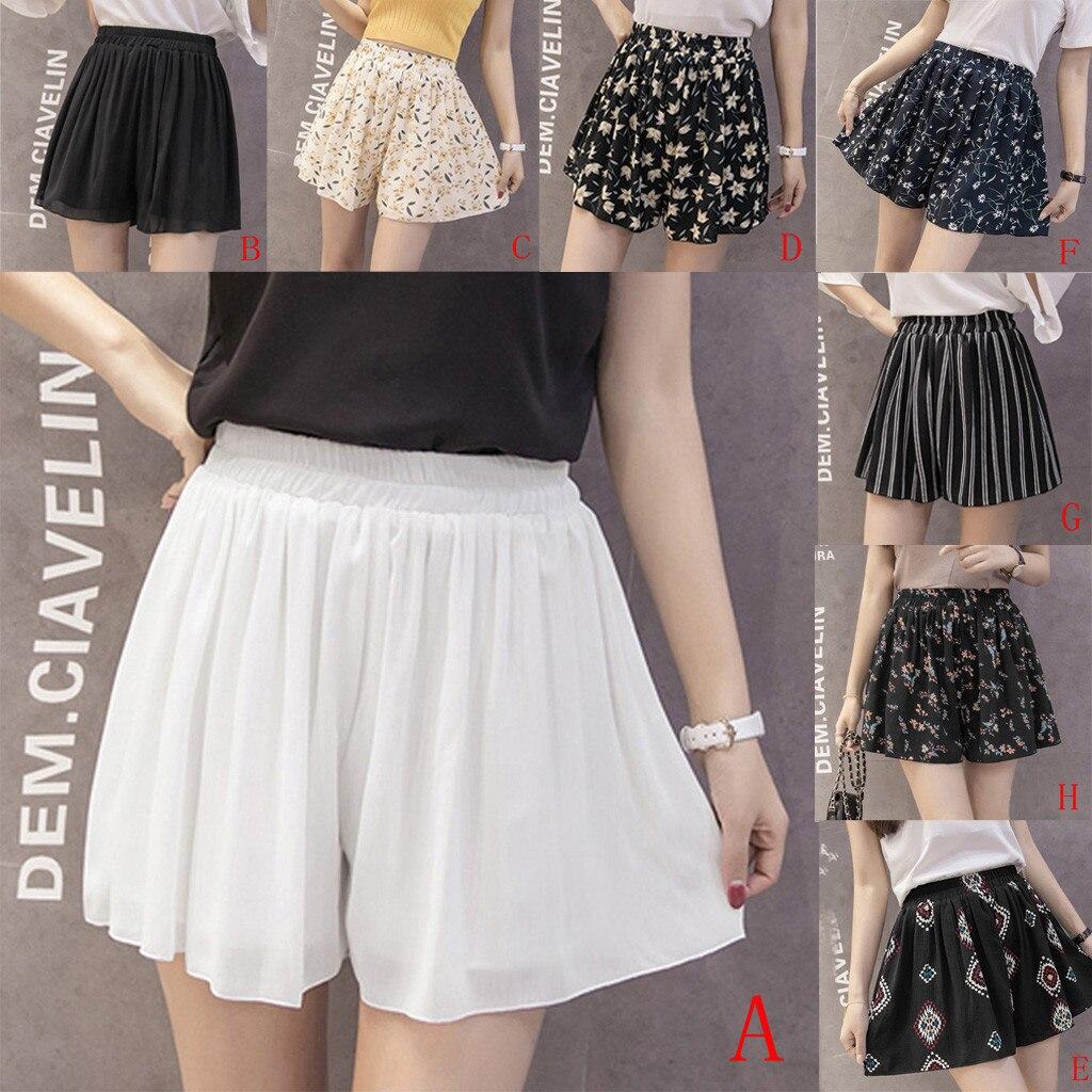 Summer Hot Sale Shorts Fashion Lady Large Size Casual Beach Loose Printing Short Pants Clothing Chiffon Skirts Summer 2020 #C12