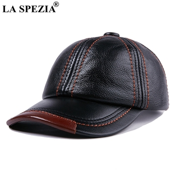 LA SPEZIA Genuine Leather Baseball Cap Men Black Cowhide Hat Snapback Male Adjustable Autumn Winter Real Leather Peaked Hats siloqin middle aged men s army military hats with ears autumn winter cowhide earmuffs flat cap leather caps genuine leather hat