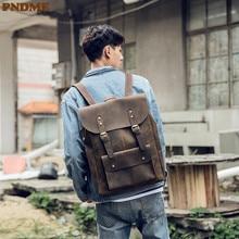 PNDME crazy horse cowhide men's backpack designer vintage large capacity genuine leather travel bagpack waterproof back pack