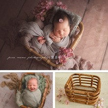 Newborn Photography Props Boy Girl Accessories Retro Rattan Square Basket Baby Vintage Chair For Photo Shoot Bed Fotografia