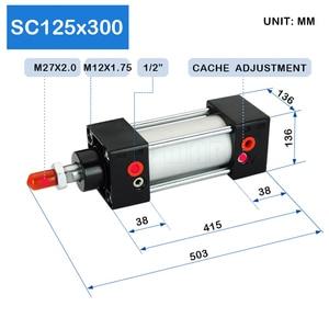 Image 2 - מפעל HotSale SC125X300 נשא 125mm שבץ 300mm אוויר צילינדרים פניאומטיים צילינדרים משחק כפול