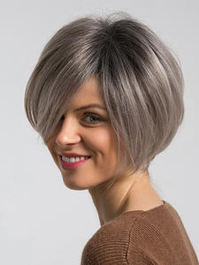 Element Synthetic-Wigs 50%Human-Hair Short for Women Grey Parting Mix Left-Side Natural