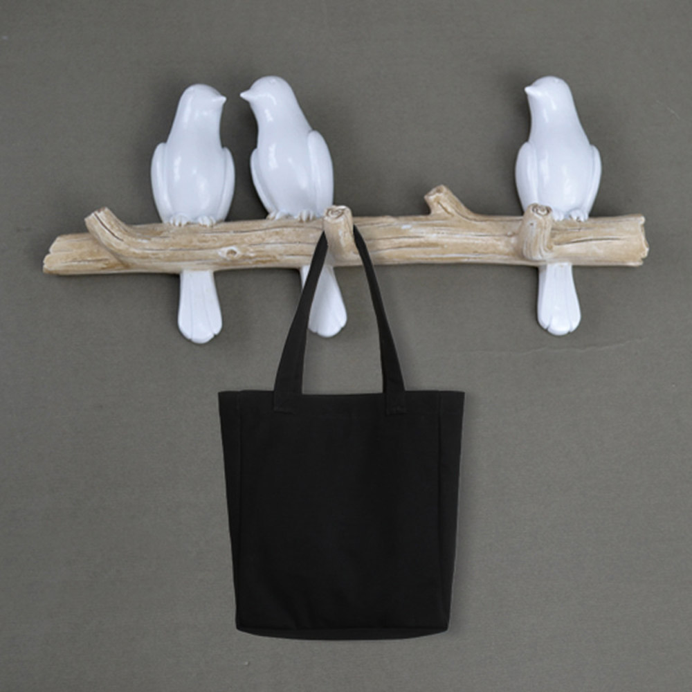 2020 Birds On Tree Branch Hook Resin Wall Decor Miniature Wall Mounted Key Hook Coat Hanger Home Decoration Storage Hooks