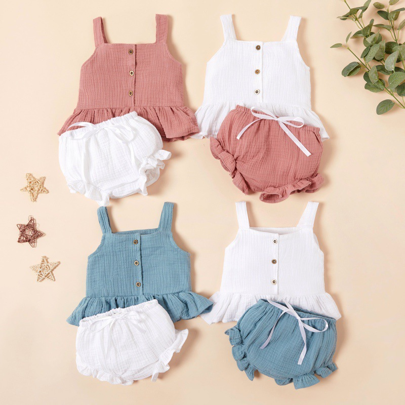 2020 Summer Baby Girl Clothes Set Cotton Tank Top+PP Pants 2piece Suit Newborn Baby Girl Outfit Comfortable Baby Clothing