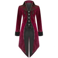 OEAK Cos lapel swallowtail stage costume male Fashion Mens Coat Swallowtail Stage Long Jacket Gothic Steampunk Lapel Outwear