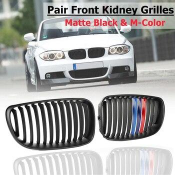 For BMW E81 E82 E87 E88 2005-2015 2012 2011 2010 New Car accessries Car replacement Matte Black M-Color Front Kidney Grilles