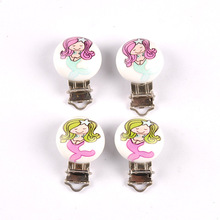 2pcs Environmentally Friendly Wooden Baby Pacifier Clip DIY Cute Mermaid Pattern Buckle Making Jewelry Wholesale