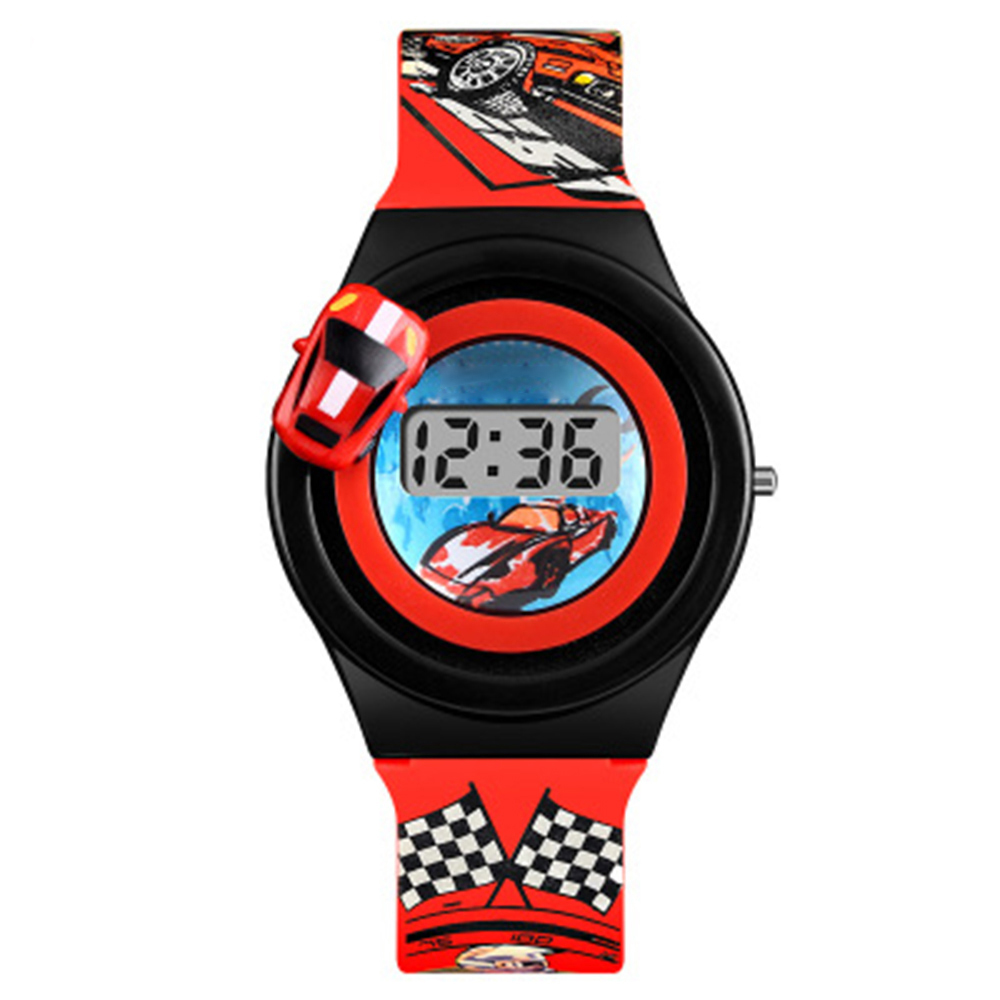 Cartoon Car Children's Watch Fashion Digital Electronic Children Watch Creative Cartoon Student Watch For Boy Child