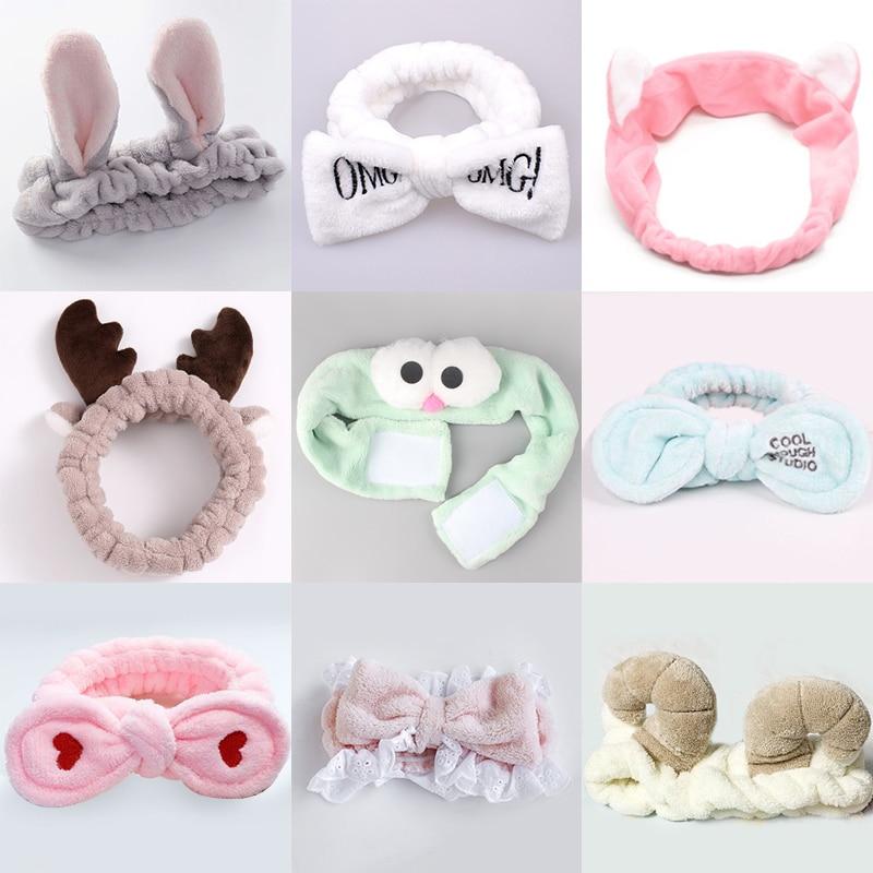 63 стиля моющиеся повязки для волос женская маска для макияжа эластичная повязка для волос коралловые вельветовые кроличьи уши головной убо...