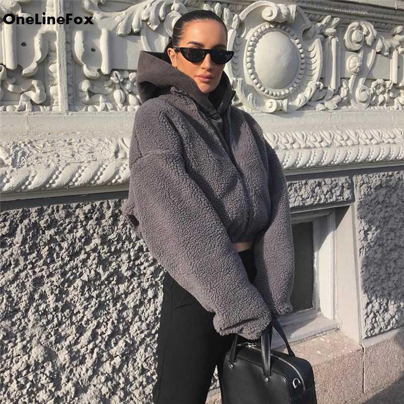 Женское пальто из овечьей шерсти OneLineFox, повседневное теплое серое Укороченное пальто с длинным рукавом, уличная одежда, осень 2019