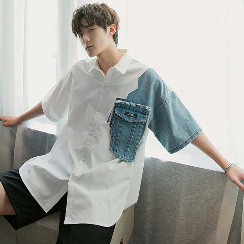 EWQ / Men's Wear Korean Denim Color Block Patchwork Oversize Half Sleeve Shirt For Male Summer New 2020 Tide Big Size Top 9Y1955
