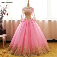 Blue pink red black gold tulle applique long sleeve Backless Ball Gown prom