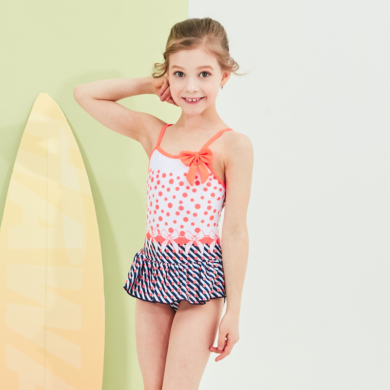 2019 New Style Hot Sales Europe And America One-piece Swimming Suit Camisole Dots Bow Stripes Hipster Girls KID'S Swimwear