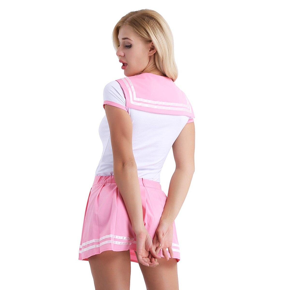 Image 3 - Iiniim feminino adulto roupas de bebê aberto virilha escola meninas sexy macacão com mini saia plissada cosplay trajes festa clubwearFantasias Sexy   -
