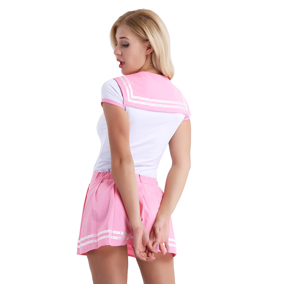 Image 3 - iiniim Women Adult Babies Clothing Open Crotch School Girls Sexy Romper with Mini Pleated Skirt Cosplay Costumes Party ClubwearSexy Costumes   -